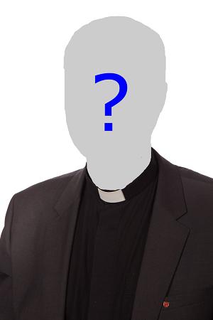 Prästskjorta med blankt huvud och frågetecken.
